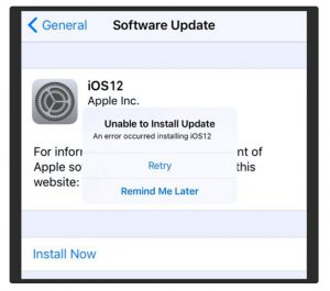 iphone error installing ios 12