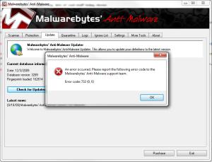 Malwarebytes Error Code 732