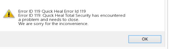 Quick Heal Registration System Error 119