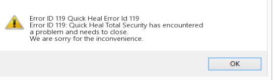 Quick Heal Registration System Error 119