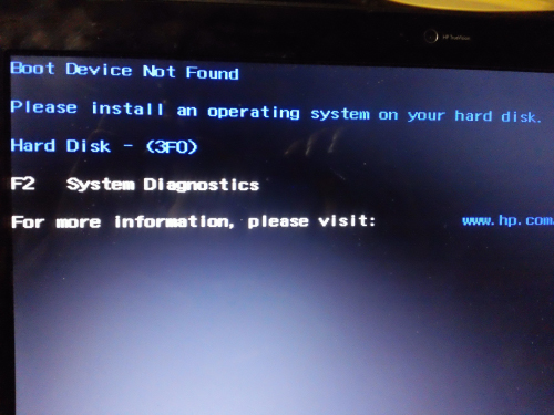 HP Boot Device Not Found (3F0) Error
