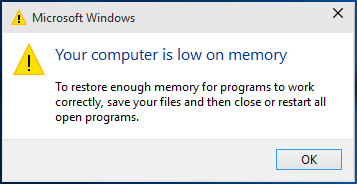 Running Low on Memory Error