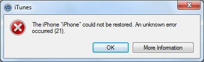 iTunes Error 21