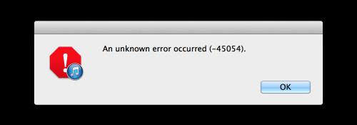 iTunes Error 45054