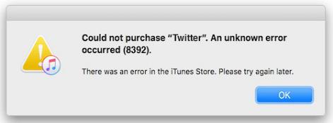 iTunes error 8392