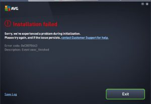 AVG Antivirus error 0xcoo70643