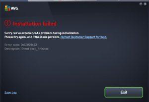 AVG Antivirus error 0xcoo70643