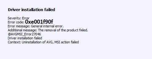 Avg Error 0xe001f90f