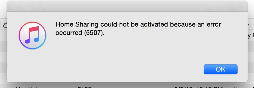 iTunes Error 5507