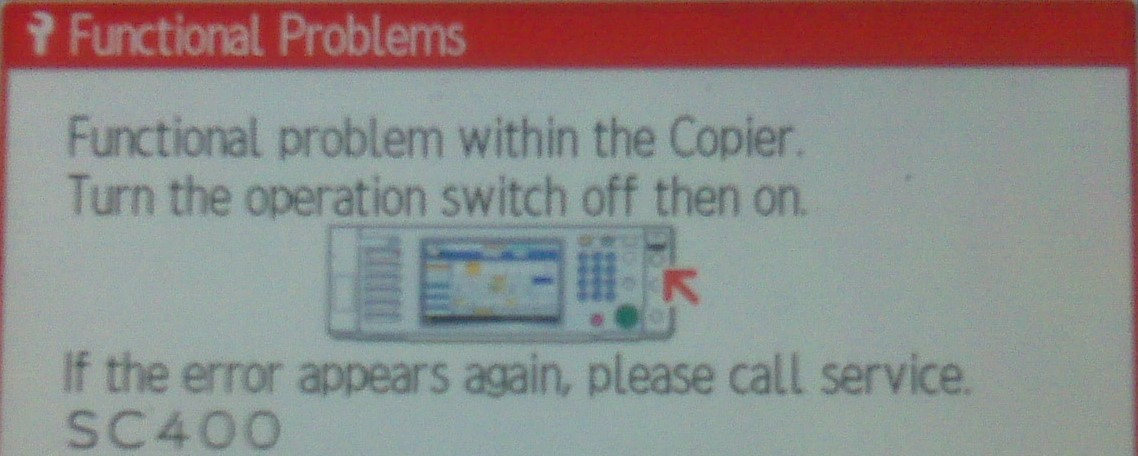 Ricoh Error Code Sc400