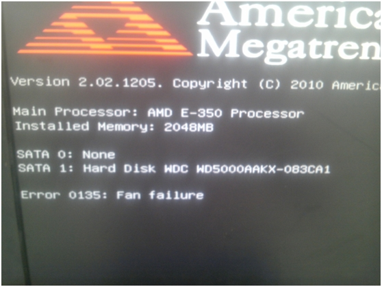 Lenovo Error Code 0135