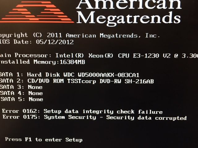 Lenovo Error Code 0162