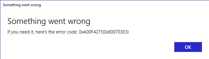 Lenovo Error Code 0xa00f4271