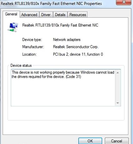 Lenovo error code 31