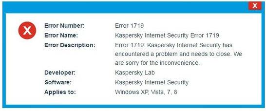 Kaspersky Error 1719