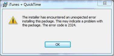 Apple itunes Install Error 2324