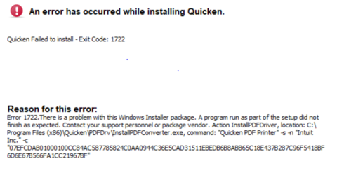 Quicken install error 1722