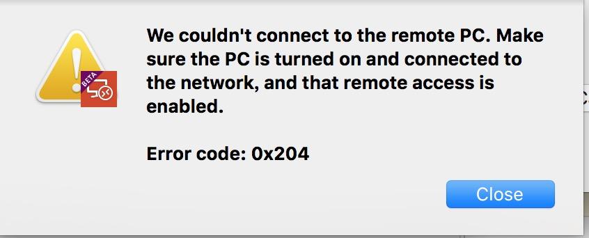 Remote Desktop Error Code 0x204