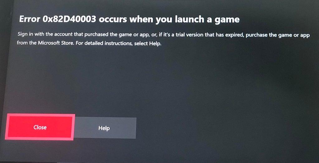 Xbox Error 0x82d40003