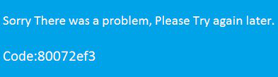 Xbox Error Code 80072ef3