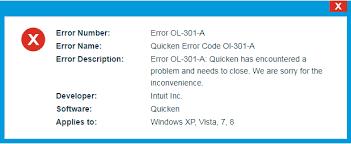 Quicken Error OL-301-A