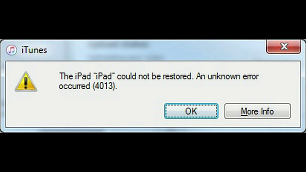 Apple iPad air error 4013