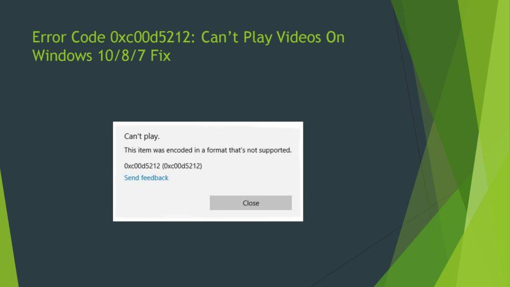 Download 0xc00d5212 repair tool