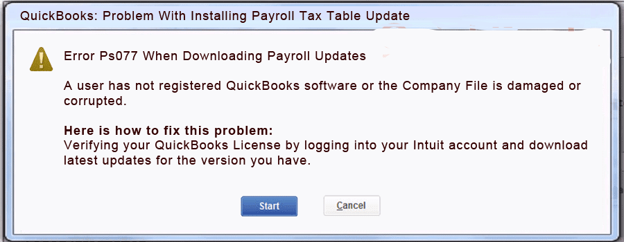Quickbooks Error ps077