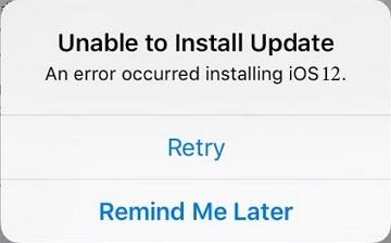 error installing ios 12.1.2