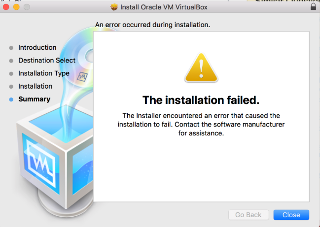 Error Install Virtualbox Mac