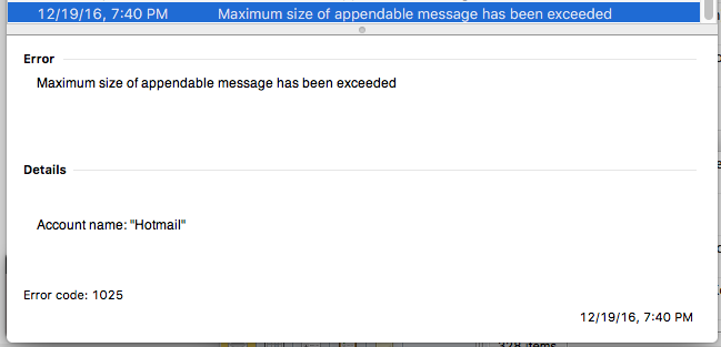 Outlook error code 1025 invalid mailbox name