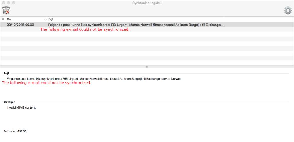 Error code 19736 Outlook for Mac
