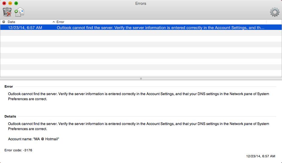 Error code 3176 Outlook for Mac