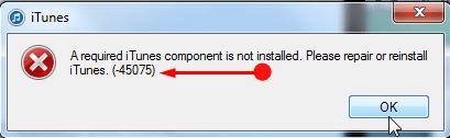 iTunes install error 45075