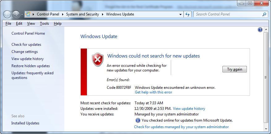 Windows Error Code 80072f8f