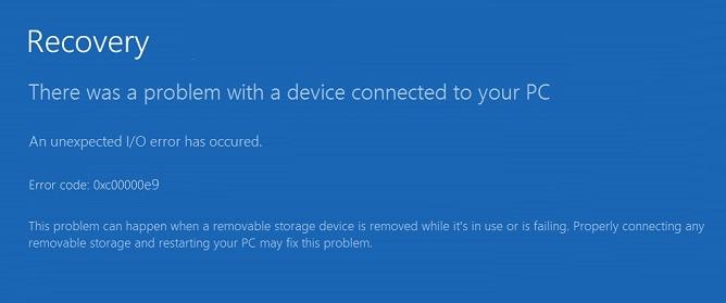 Windows Error oxc00000e9