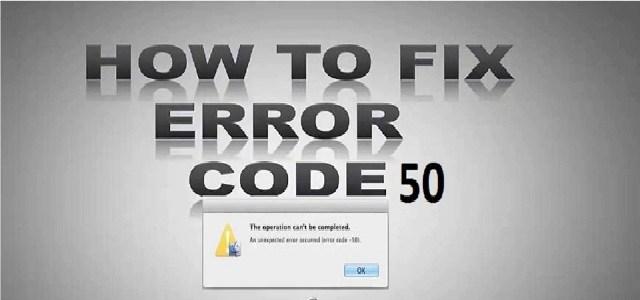 Mac Error Code 50