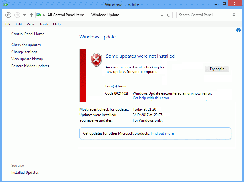 Windows Update Error Code 0x80072efe