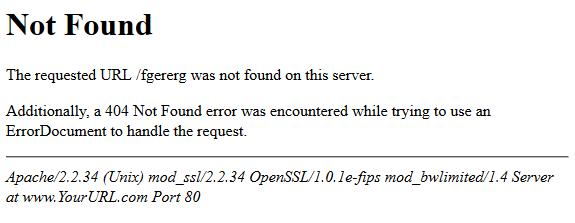 HTTP 404 Not Found Error