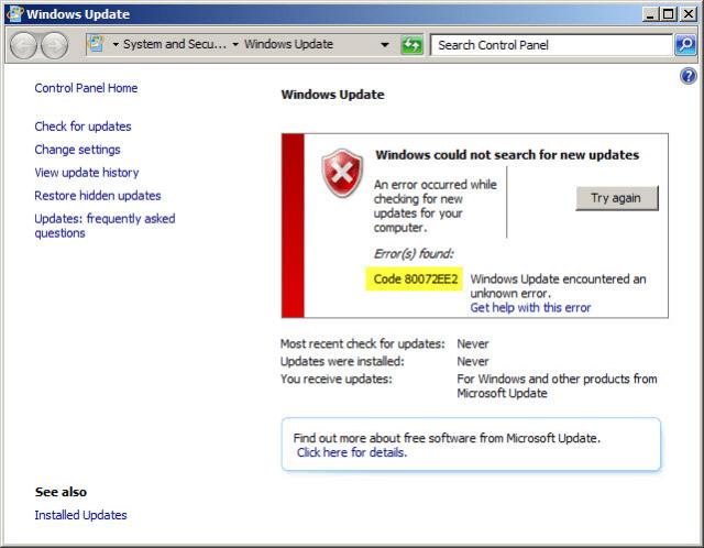 Windows 10 Error 80072EE2