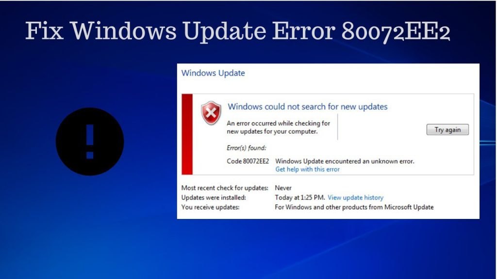 Windows 10 Error 80072EE2