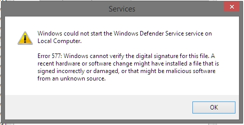 Windows Defender error 577