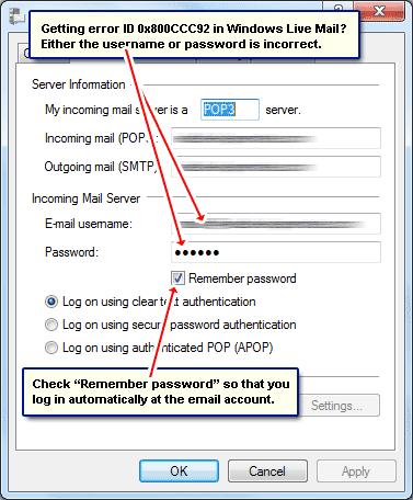 Windows Live Mail error 0x800CCC92