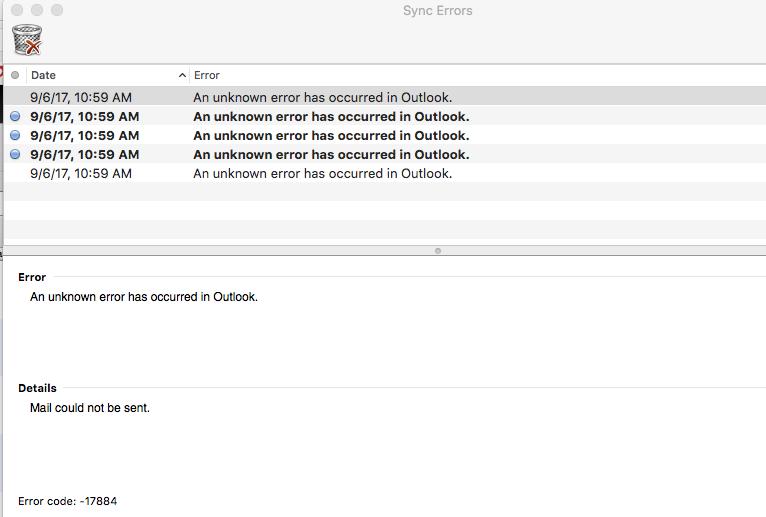 Outlook error code 17884