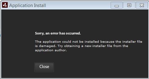 Error When Installing Adobe Air