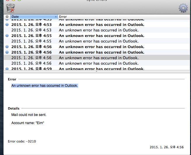 Outlook error code 3210
