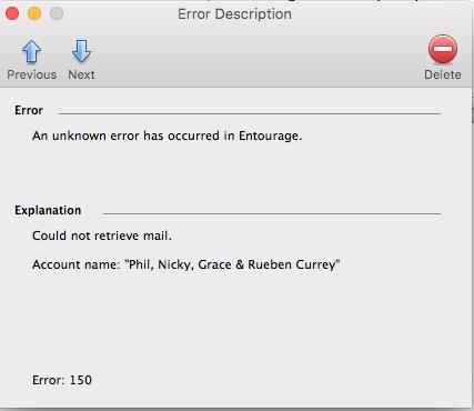 Outlook email error code 150