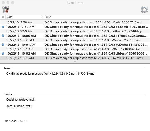 Error code 16997 Outlook for Mac