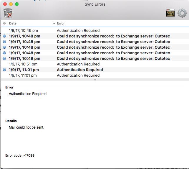 Outlook error code 17099