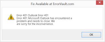 Outlook error code 401
